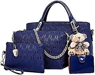 Conjunto de bolsa de cuero de PU de 4 piezas con asa superior para mujer (bolsa grande, bolso, bandolera, tarjetero)