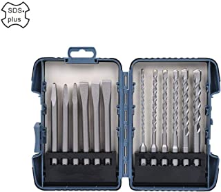 Sds Plus Bits Masonry Trade Bit Set & Hammer Drill Bit Set - Monkey King Bar -Rotary Hammer Chisel Set - 12pcs Flat Chisel, Point Chisel, Drill Bits