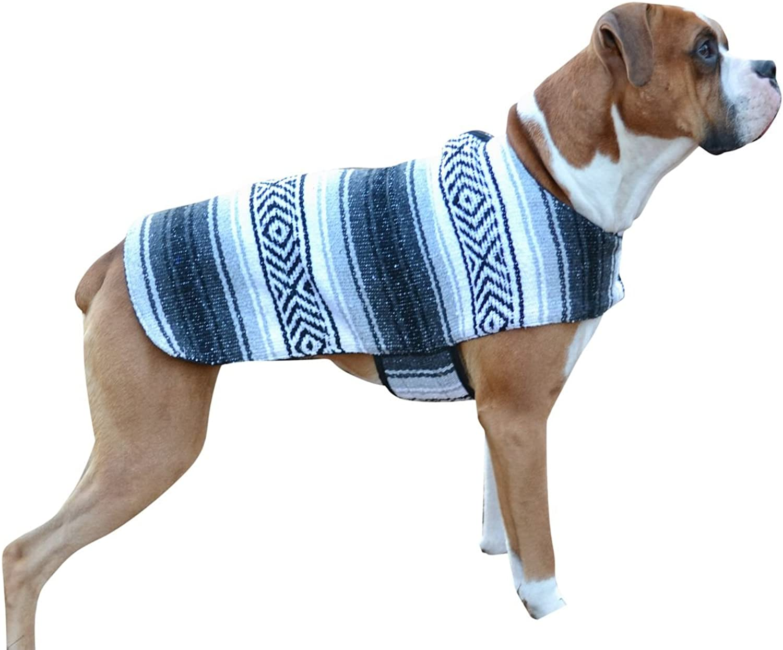 Del Mex Handmade Mexican Serape Dog Pet Poncho Costume (XSmall, Grey)