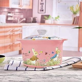 BGSFF Clay Casserole Clay Cooking Pots Soup Pot Claypot Rice 3 Litre Jese Stew Pot Braising Pan Yellow-Pink_3 Litre