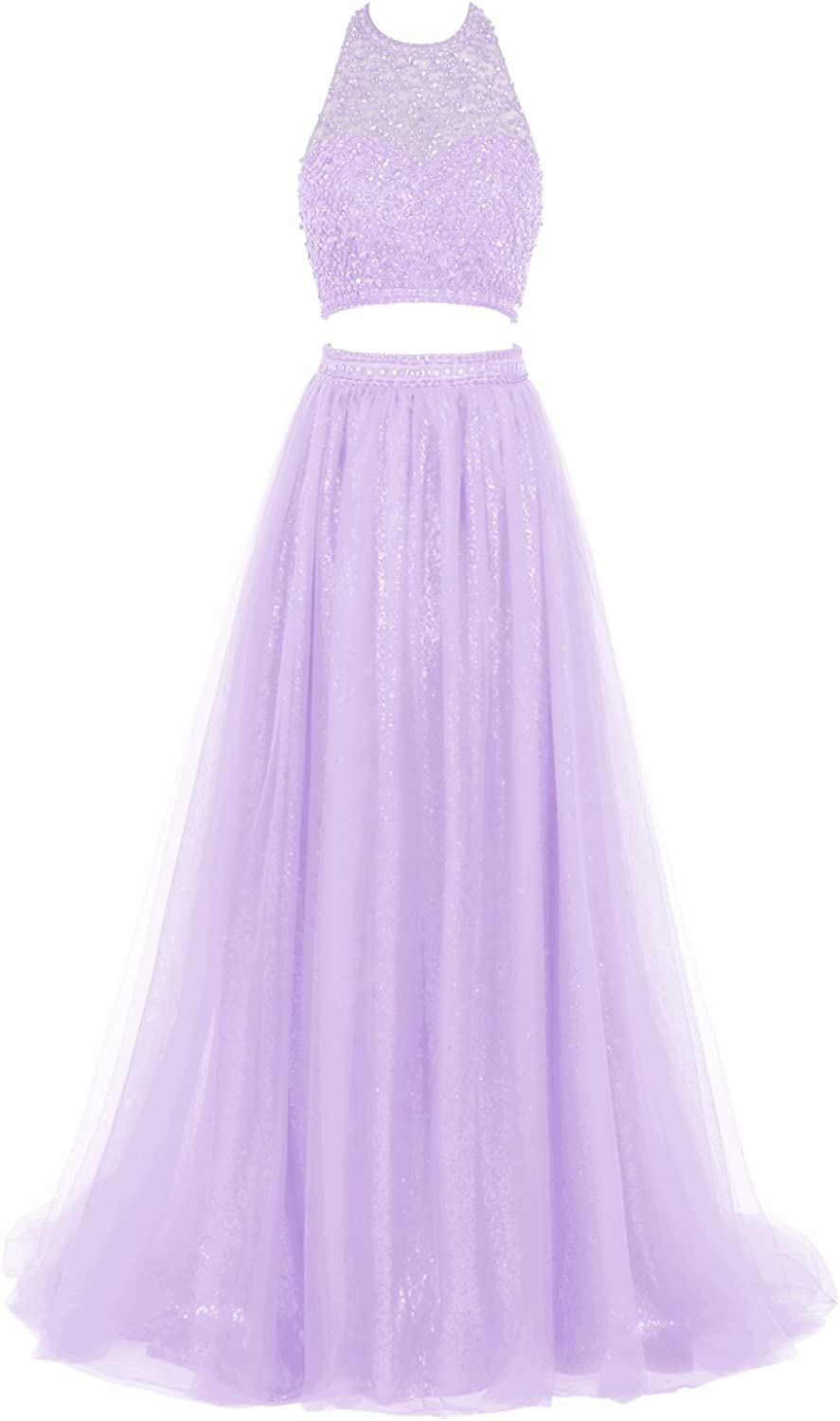 Bbonlinedress Long Tulle Prom Dress Two Piece Halter Beaded Sequins Party Gown