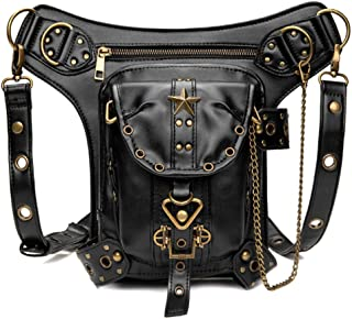 Rullar Halloween Unisex Steampunk Hiking Fanny Waist Bag Military Tactical Drop Leg Bag Outdoor Bike Motorcycle Cycling Pack Utility Backpack Pouch Shoulder Arm Bag Black