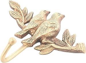 Indianshelf Handmade 1 Artistic Vintage Golden Brass Birds Sitting On A Branch Key Hooks Hangers/Wall Hooks Decorative