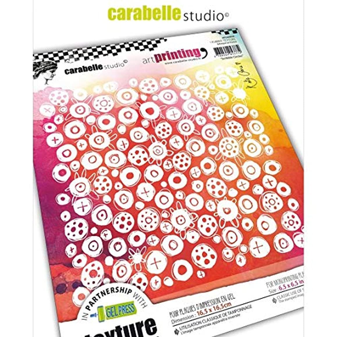 Carabelle Studios Art Printing Rubber Texture Stamp Rectangle, Scribble Circles, for Gel Monoprint Plates, 16,5 x 16,5 cm