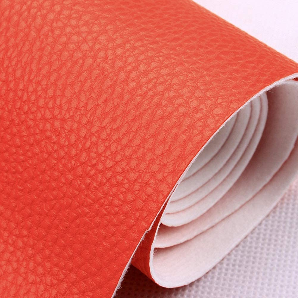 MAGFYLY Faux Leather roll Leatherette Soft Texture Feel Faux Leather Material, Premium Vinyl Faux Leather, for Making Leather Earrings Bows and Crafts (Color : Orange)