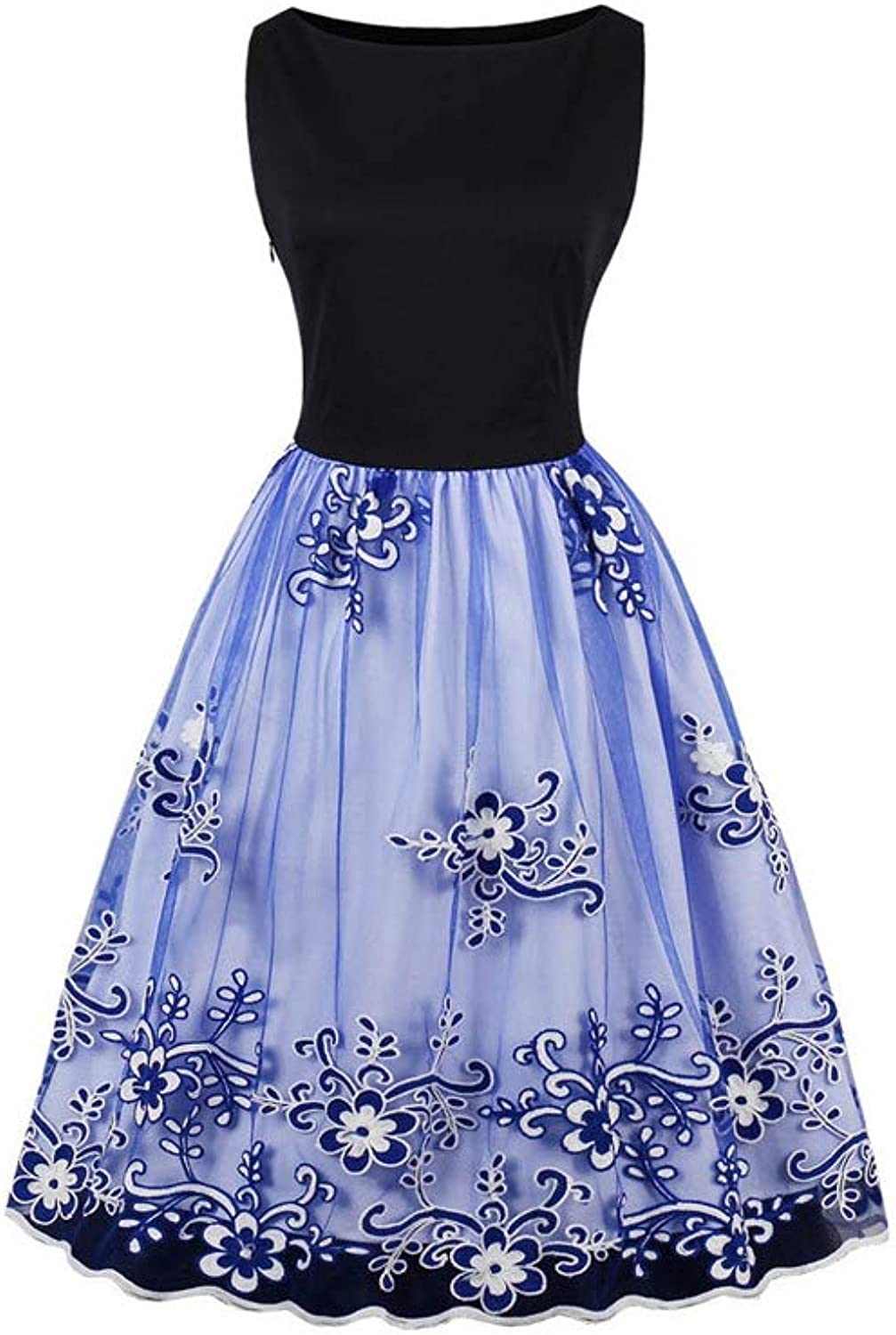 Aignse Mesh Embroidery bluee Floral Pleated Dress Women Gorgeous Summer Dress up Fit and Flare Dresses