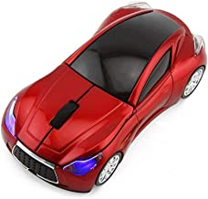 CHUYI Cool Sports 3D Car Shaped Wireless Optical Mouse 1600DPI 3 Button Ergonomic Gaming Office Mice with USB Receiver for Travel Business School Home Gift (Red)
