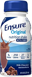 Ensure Original Nutrition Shake with Fiber, 9g High-Quality Protein, Meal Replacement Shakes, Chocolate, 8 fl oz, 24 count