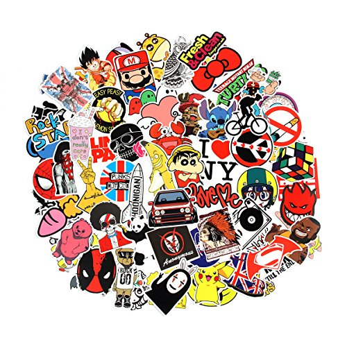 6 Series Cool Laptop Stickers Pack 100 pcs Stickers Bomb Variety for Adults Teens Graffiti Vinyl Decal for Skateboard Computer Motorcycle Bicycle Luggage (A)