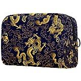 Bolsas de cosméticos Bolsa de Maquillaje Bolsa organizadora de artículos de tocador con Cremallera 7.3x3x5.1 Pulgadas para Mujeres y niñas Patrón de dragón Dorado Chino