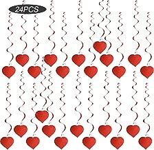 SERWOO 24pcs Corazón Guirnalda Colgante Espiral PVC Decorativa Decoración Adorno Boda Fiesta San Valentín Navidad Bautizo Techo Ventana Puerta (Largo: 86cm) (24pcs, Corazón, Rojo)