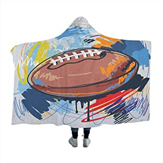 GGACEN Sports Warm Wearable Blankets Diamond Shape Rugby Ball Sketch with Colorful Doodles Professional Equipment League for Adults Teens Playing Games Chair Bedroom Multicolor 50x40 inches