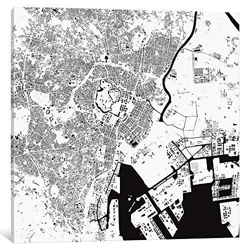 """iCanvasART ESV365 iCANVAS Tokyo Urban Map (weiß) Druck von Urbanmap, 94 x 1,9 x 94 cm Tiefe: 1,9 cm, Leinwand, gespannt 26\"""" x 26\"""""""