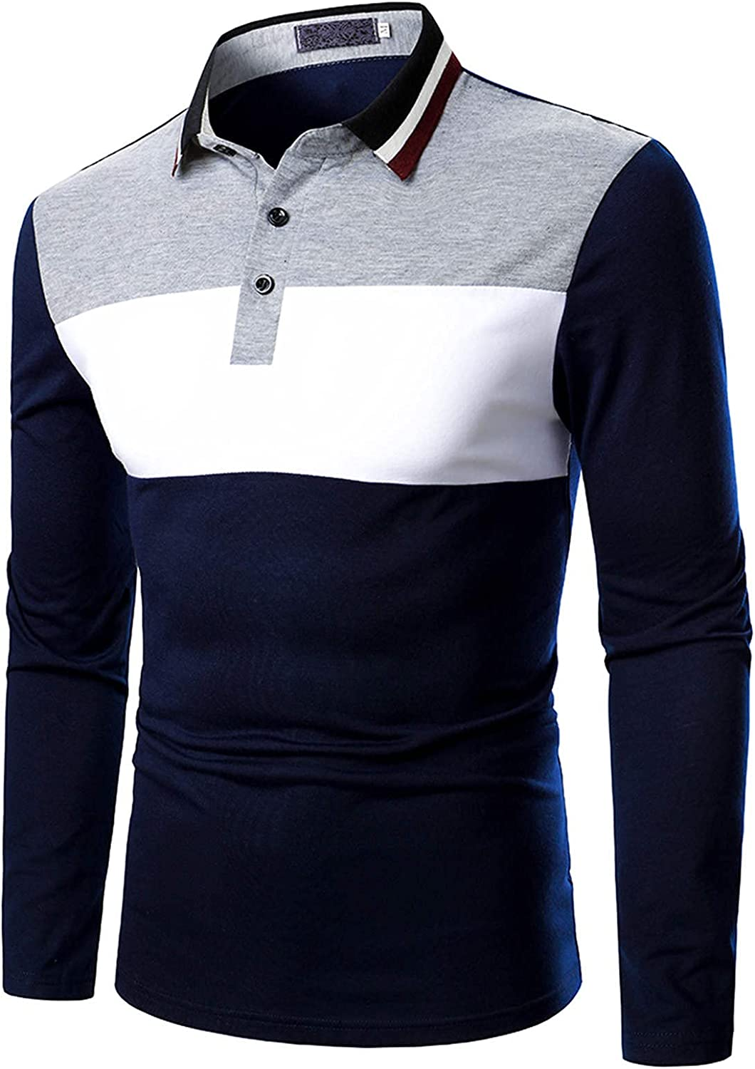 XXBR Long Sleeve Polo Shirts for Mens, 2021 Fall Color Block Patchwork Business Casual Shirt Front Placket Button Tops