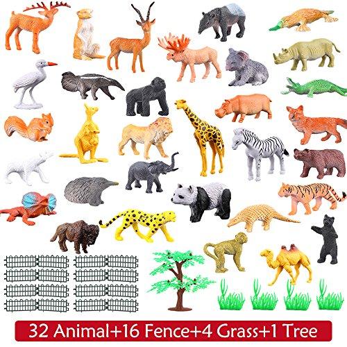 Tierfiguren, 54 Stücke Mini-Spielzeugset von Dschungel-Tieren, Tierwelt, lebensechte Wildtiere, Lernstoffe, Partyzubehör, Spielzeuge für Jungs und Kinder, Playset von Tieren im Wald und kleinen Farm - 4