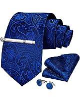 DiBanGu Silk Royal Blue Paisley Necktie for Men Woven Formal Necktie Pocket Square Cufflinks Tie Clip Set with Gift Box Wedding