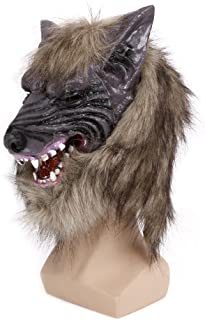 Kocome Animal Wolf Head With Hair Mask Halloween Latex Fancy Dress Costume Party Scary