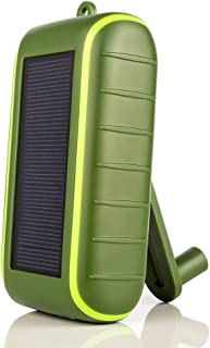 Solar Charger Hand-Crank Portable, 10000 mAh Solar Power Charger, 2019 Edition, Dual USB Output & LED Flashlight, 3 Power Modes, Mobile Phone Charger Waterproof for Indoor & Outdoor (Army Green)