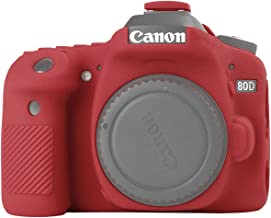 STSEETOP Canon 80D Case,Professional Silicone Rubber Camera Case Cover Detachable Antiscratch Shockproof Full Body Protective case for Canon EOS 80D (Red)
