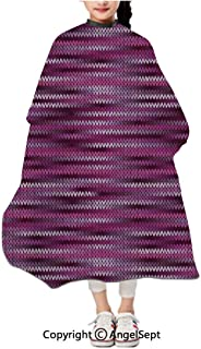 Fashion Unisex Kids Haircut Apron,Vintage Knit Pattern Featured Variations of Pink Tone Nostalgic Vivid Art Violet Fuchsia,47.2×39.4 inches,Waterproof Cape Cover For Hair Cutting