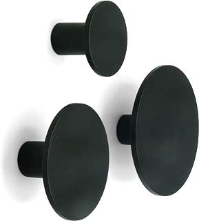 Metal Dot Decorative Wall Hooks (Black, Set of 3) - Coat Hooks, Bathroom Towel Hanger, Entryway Hooks