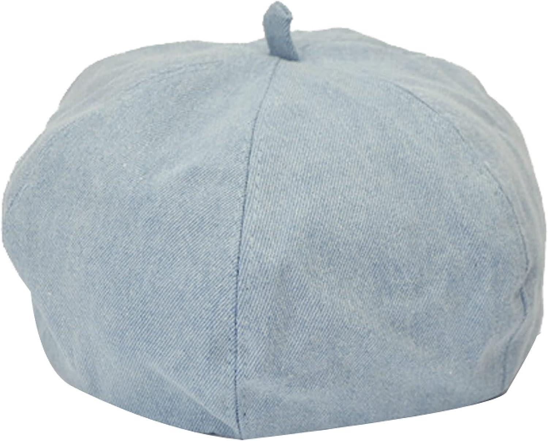 ASO-SLING Womens Solid Color Denim Berets Hats Girls Cowboy Hat Slouchy Painter PaperboyCap Octagonal Cap Blue