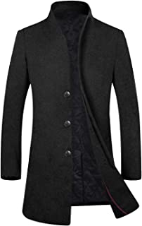 Men's Winter Stylish Wool Trench Coat Long Jacket Slim Fit Business Suits