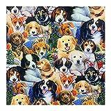 ANWUYANG BU 1 Unids 110 Cm Patrón De Perro De Colores, Tela De Algodón Perros De Tela Digital Material De Costura Impreso para Acolchar Patchwork Bricolaje Ropa