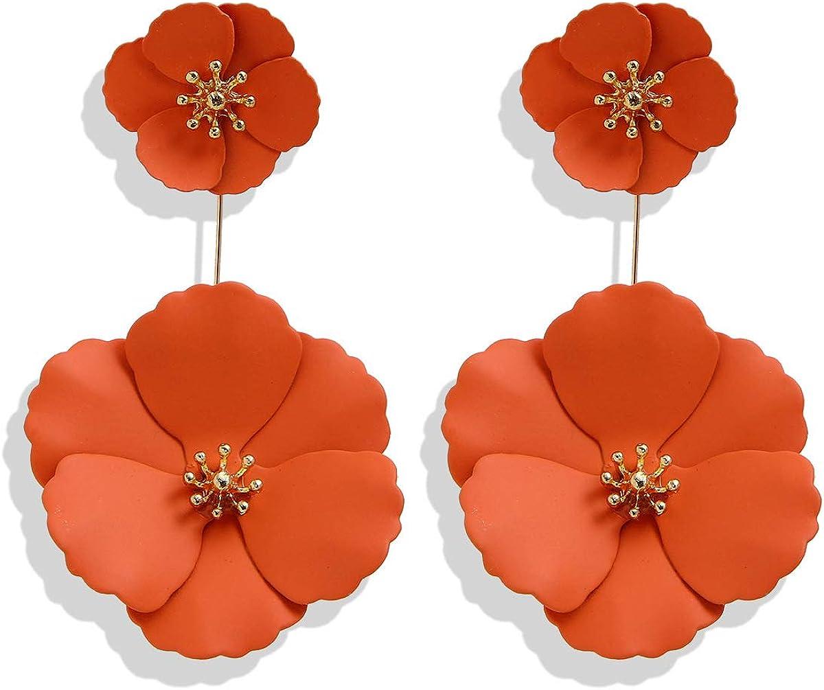 Metal Poppy Flower Dangle Earring Matte Painted Dual Fashion Bohemian Flower Floral Petal Tiered Drop for Women Girls