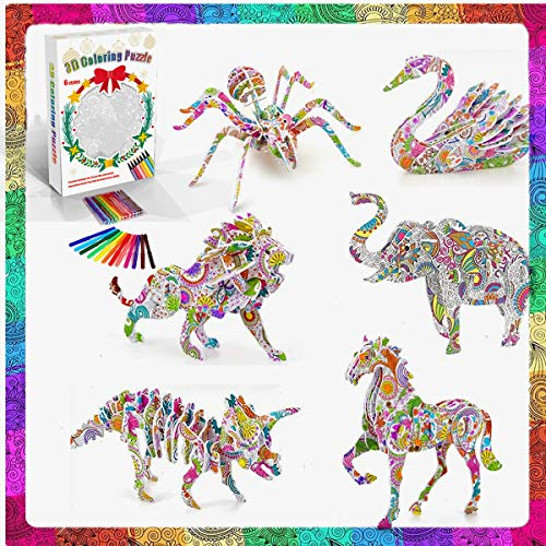 Felly Puzzle 3D Niños, Manualidades Niñas 6 7 8 Años, Puzzle de Pintura con 6 Animales y 24 Rotuladores, Juguetes para Niños Juegos Regalos de Cumpleaños para Niñas y Adolescentes 9 10 11 12 Años
