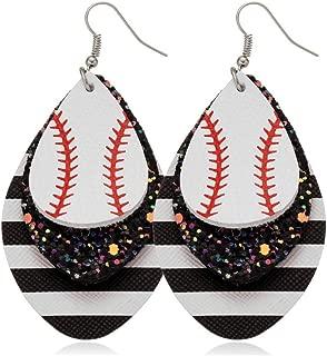 Fusamk Punk Rock 2PCS Alloy Hook Earrings Drop Dangle Baseball Pattern Multi-layer Leather Earrings
