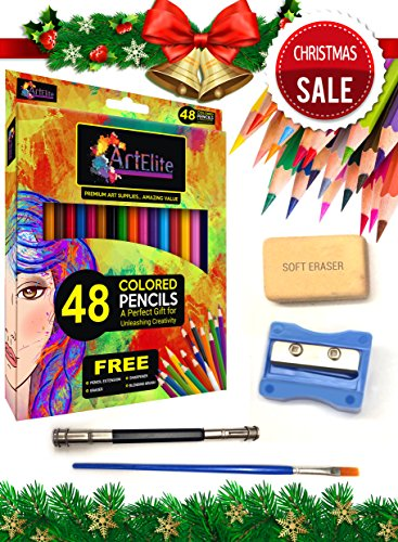 Colored Pencils - 48 Color Pencils Pre-Sharpened Set For Premium Drawing & Coloring + 4 Free Extra Art supplies -Perfect for Kids, Art Students and Professionals