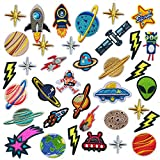 Woohome 35 Pz Patch Sticker, Parche Termoadhesivo, Planetas Sistema Solar Astronauta Espacio Parche de Hierro en Patches paraMochila, Gorras, Ropa
