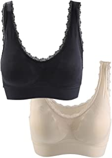 uxcell Women Fitness Lace Deco Middle Impact Pocket Pullover Sport Bra S fit 12-14 Years Black+Beige