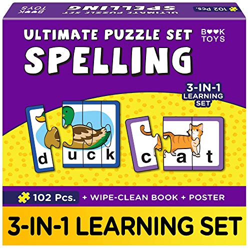 Book Toys- Spelling Games and Puzzles for Kids | for Ages 3+ Year Old Boys & Girls | Educational and Learning Toys | with Wipe Clean Activity Book and a Poster