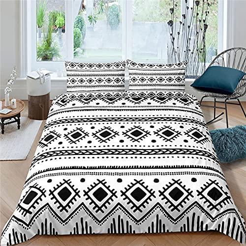 Unicey Ropa De Cama - Blanco Rayas Costuras 240X220 Cm Microfibra Nuevo Set De Tres Piezas Funda De Edredón Habitación Infantil, Dormitorio Decoración De Habitaciones De Hotel