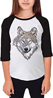 Kim Lennon Wild Wolf Young Girl 3/4 Sleeve Raglan Shirt Black