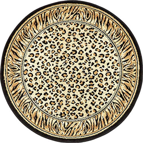 Unique Loom Wildlife Collection Cheetah Border Animal Print Light Brown Round Rug (4' 0 x 4' 0)