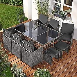 BRAST Salon de Jardin 10 Personnes en rotin tressée très Elegante, pour Peu d'Espace Confortable, résistant, en Gris…