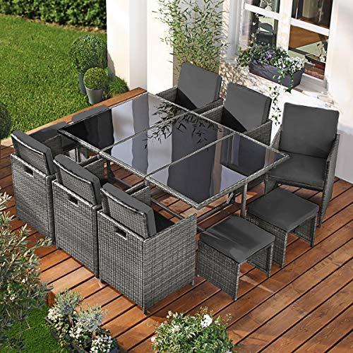 BRAST Poly-Rattan Gartenmöbel Essgruppe Lounge Sitzgruppe Camouflage Deluxe 11tlg Grau/Anthrazit inkl. Abdeckung