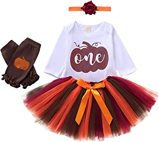 Infant Baby Girl Outfits 1st Birthday Pumpkin Long Sleeve Romper Top Tulle Tutu Skirt Headband Leg Warmers 4pcs Clothes Set
