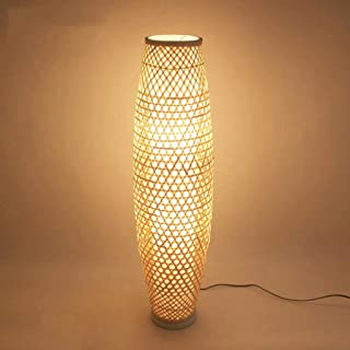 Lámpara De Suelo De Bambú De Mimbre Rattan Jarrón Sombra Luz De Lámpara De Pie Rústico Asiática Japonesa Nórdica Tungsteno Abajur Luminaria De Suelo De Luz Lámparas De Pie Lámpara