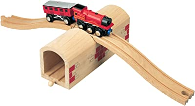 Maxim Wooden Train Track Over & Under Tunnel Bridge | Easy-Connect Railway | Compatible with Thomas, BRIO, Melissa & Doug, KidKraft | Toys for Boys, Girls