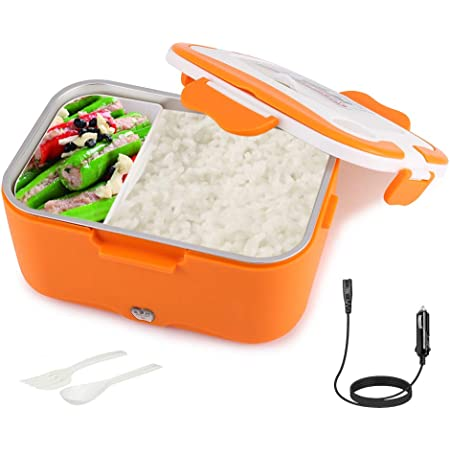Pranzo al sacco per riscaldamento auto portatile Arancione 12V contenitore per scaldavivande da pranzo riscaldamento elettrico per auto da 1,5 litri per viaggiare