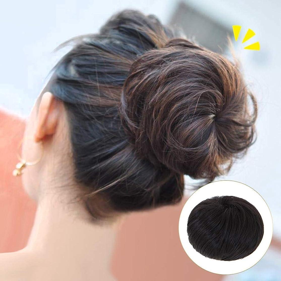 専制個人法律によりかつら 短い巻き毛のポニーテールラップ巾着パフポニーテールヘアエクステンションウィッグクリップ - ナチュラルブラックパーティーウィッグ (色 : 淡い茶色, サイズ : Straight hair)
