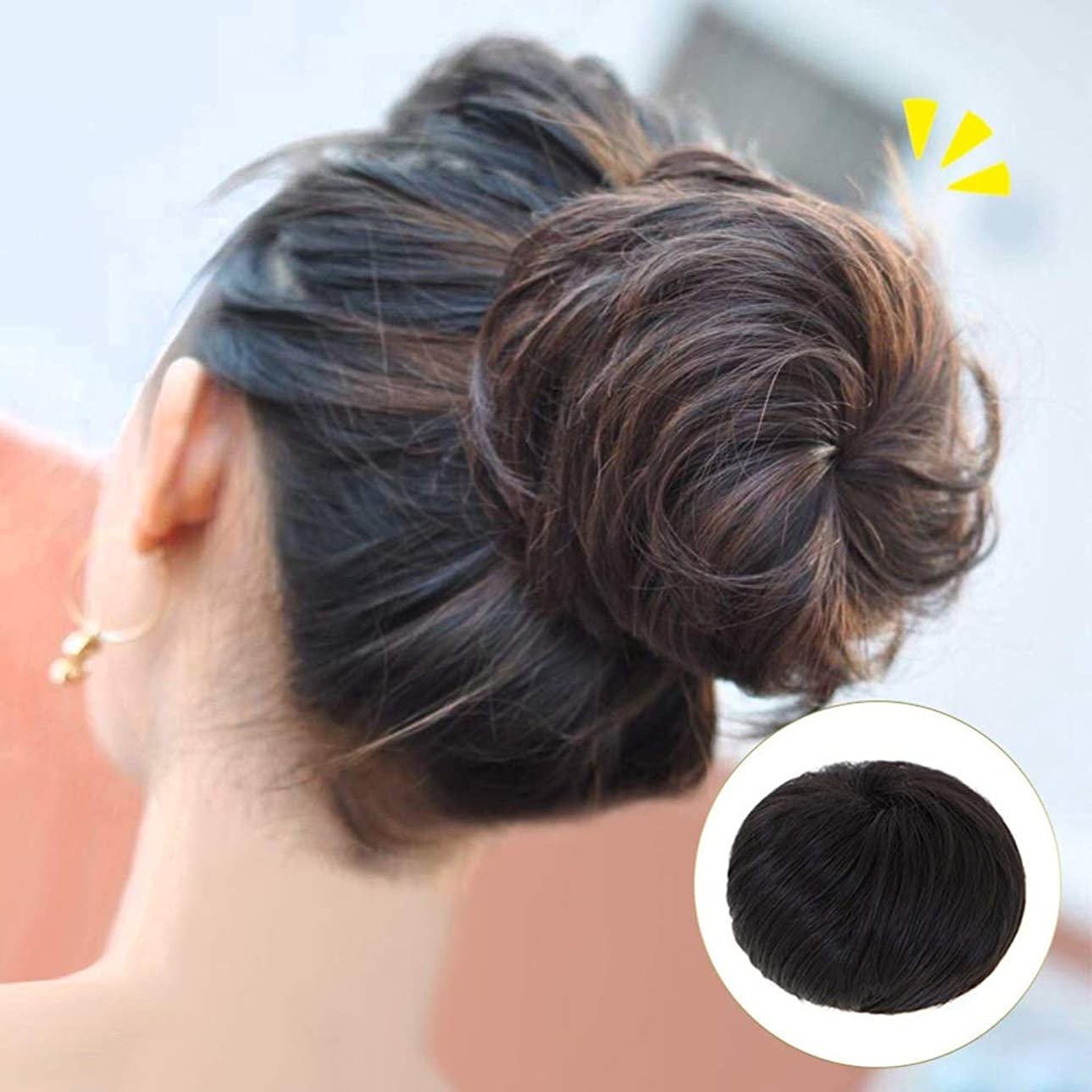 ビジターマダムスラム街Yrattary 短い巻き毛のポニーテールラップ巾着パフポニーテールヘアエクステンションウィッグクリップ - ナチュラルブラックパーティーウィッグ (Color : Natural color, サイズ : Straight hair)