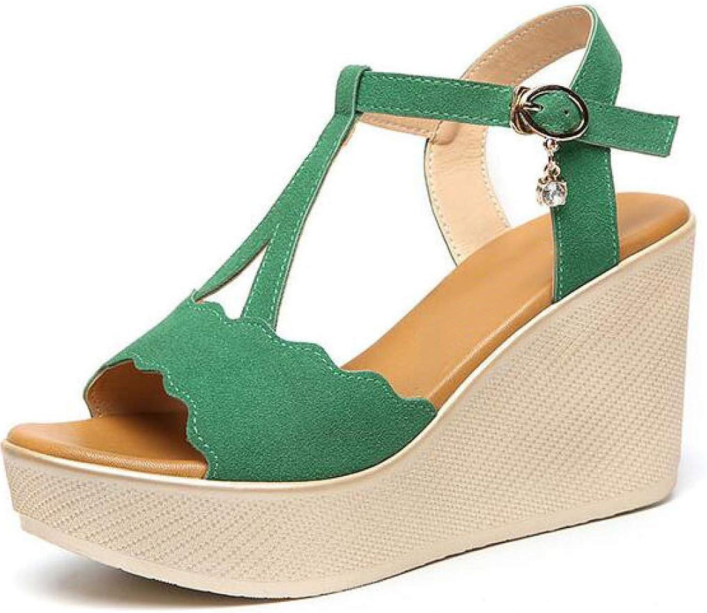 MEIZOKEN Womens Ankle Strap Buckle Wedge Sandals Fashion Open Toe T-Strap Platform Casual Summer High Heels