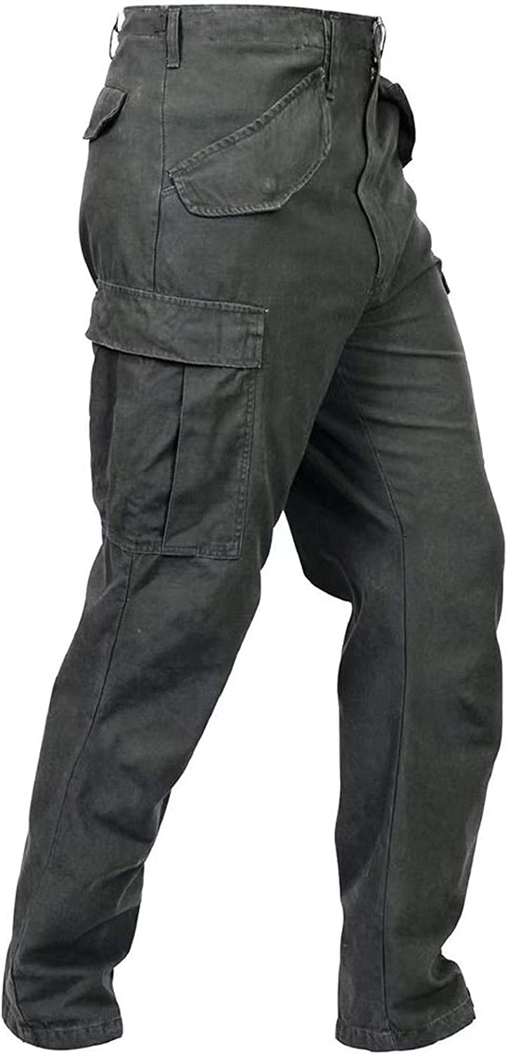Casual Cargo Pants for Mens Zipper Denim Relaxed Fit Straight Leg Tactical Pants Hiking Work Outdoor Athletic Pants