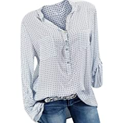 S.Charma Womens Plus Size V Neck Long Sleeve Blouse Casual Loose Pocket T-Shirt Pullover Tops