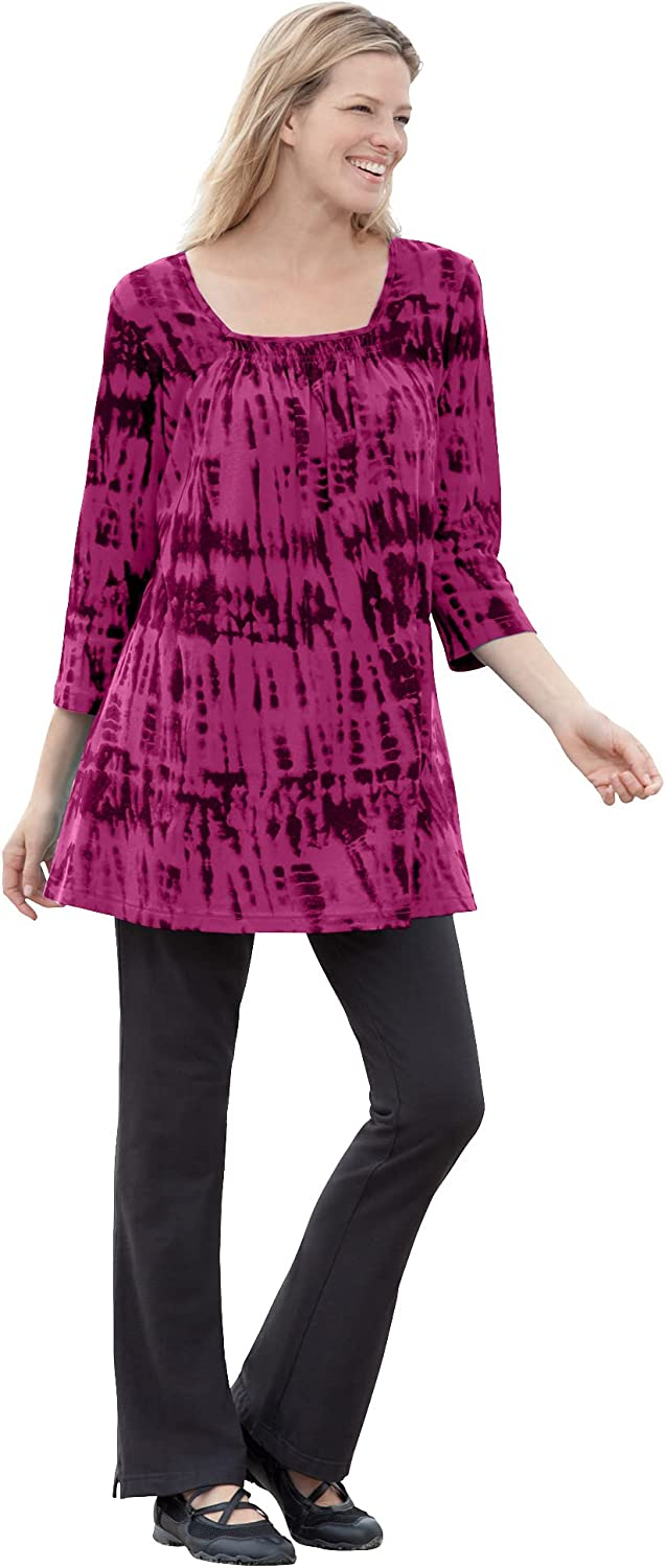 Woman Within Austin Mall Women's Plus Size specialty shop Tunic Square-Neck Smocked Tie-Dye
